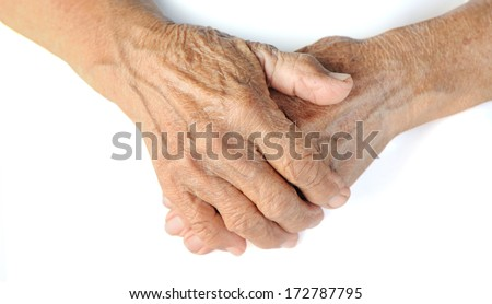 old hands on a white background withe clipping path - stock photo
