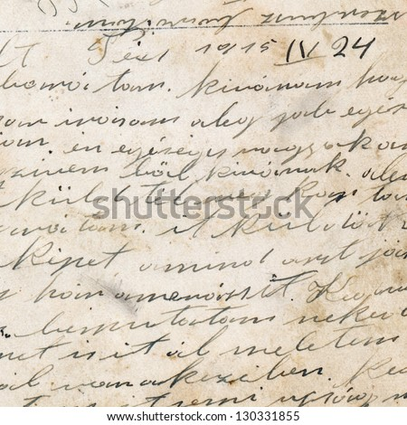 Old handwriting on dirty paper - stock photo