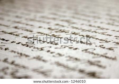 Old handwriting, shallow dof - stock photo