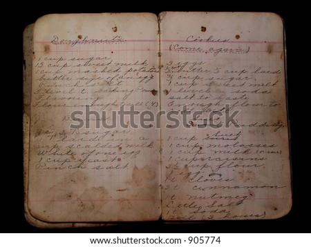 Old Handwritten Cookbook - stock photo