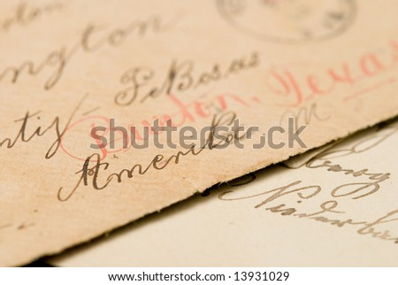 old handwritten letters with american address