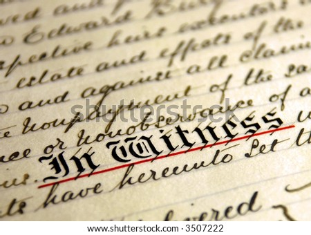 old handwritten text on faded parchment paper - stock photo