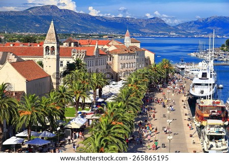 Old harbor and town of Trogir, Croatia - stock photo