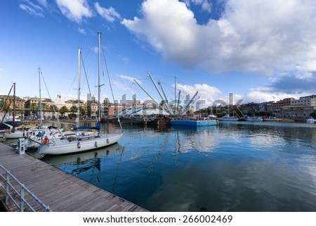 old harbor in Genoa, Italy - stock photo