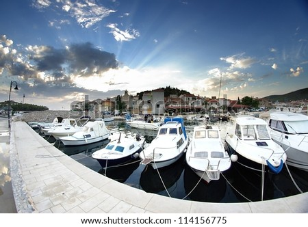 Old harbor or marina and stone houses, Croatia Dalmatia Tribunj - stock photo