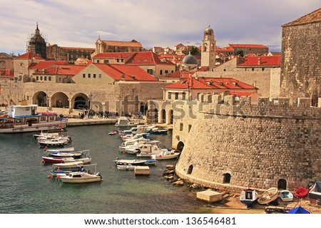 Old Harbour at Dubrovnik, Croatia - stock photo