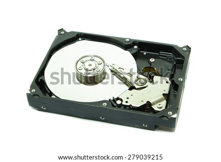 Old hard disk on white background - stock photo
