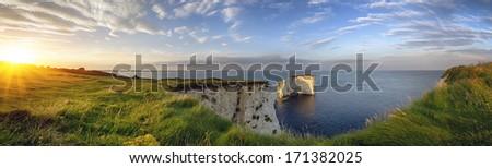Old Harry Rocks on the Jurassic Coast in Dorset - stock photo