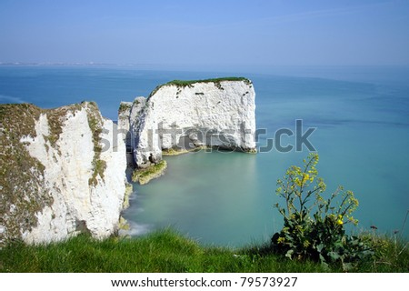 Old Harry Rocks on the UNESCO World Heritage site Jurassic Coastline - Swanage, Dorset - stock photo