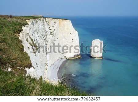 Old Harry Rocks / The Pinnacles on the UNESCO World Heritage site Jurassic Coastline - Swanage, Dorset - stock photo