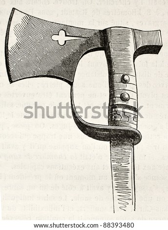 Old Hatchet kept in Basel cathedral. By unidentified author, published on Magasin Pittoresque, Paris, 1844 - stock photo