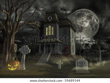 old haunted house and graveyard - stock photo