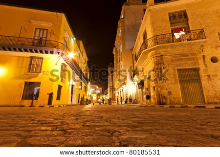 Old Havana at night - stock photo