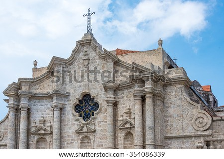 Old Havana, Cuba: Cathedral tower detail  Old Havana is a Unesco World Heritage Site and a major tourist landmark in the Caribbean Island. - stock photo