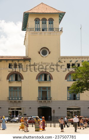 OLD HAVANA,CUBA-JULY 15,2014: Historic building of Terminal Sierra Maestra in the San Francisco de Asis Plaza. The terminal is in Havana bay and was used by ships carrying passengers. - stock photo