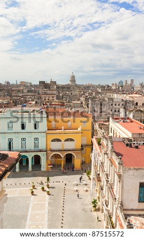 Old Havana with the Capitol in the background - stock photo