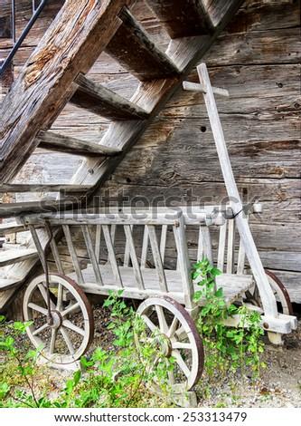 old hay cart at a farm - stock photo