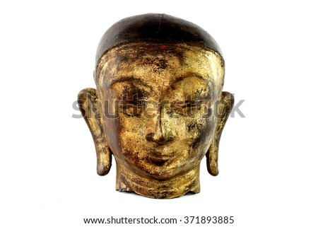 Old head disciples of the Buddha on white background - stock photo