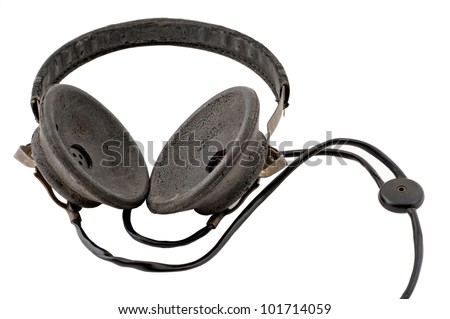 Old headphones isolated on a white background - stock photo