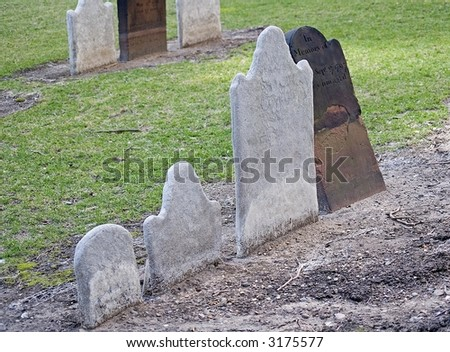 Old headstones in a church cemetery in lower Manhattan in New York City.