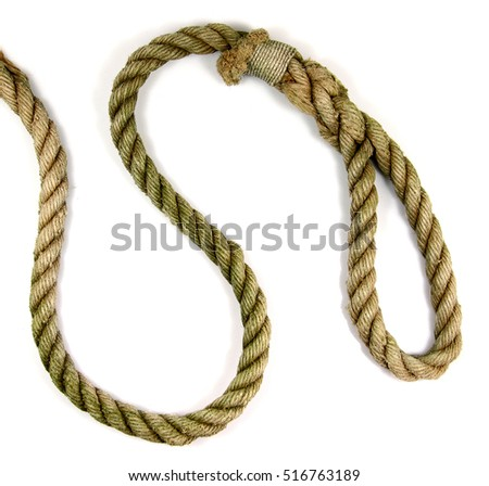 Old heavy rope with a loop at the end