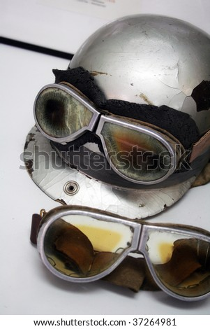 old helmet and glasses in retro style - stock photo
