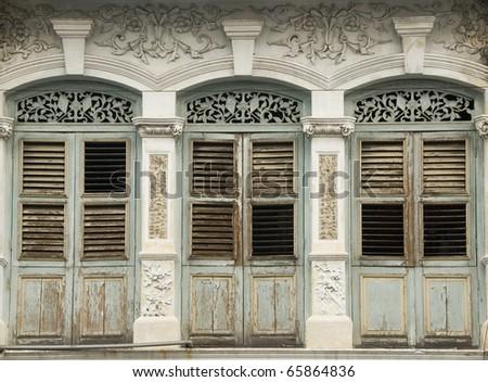 Old Heritage Windows - stock photo