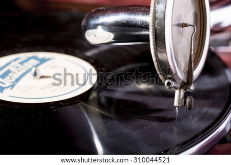 old hermetical roll gramophone - stock photo