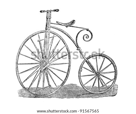 Old high wheeler bicycle line art engraving showing the state of technology, circa 1871, London. Ariel Velocipede penny farthing
