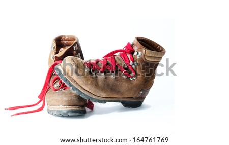 Old Hiking boots - stock photo