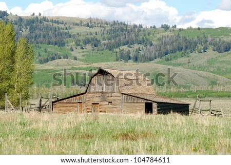 Old historic barn on Mormon Row in grand Teton National Park, Wyoming. - stock photo