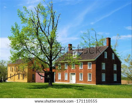 Old Historic building at Shaker Village in Kentucky / Divided House - stock photo