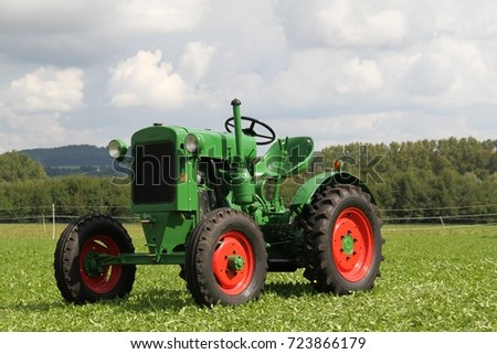 Old historic green tractor