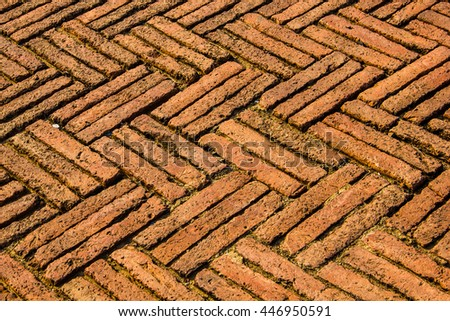 Old Historic Red Brick Floor For Texture Or Background