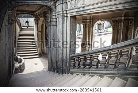 Old historic stone stairway, Zwinger in Dresden, Germany. - stock photo