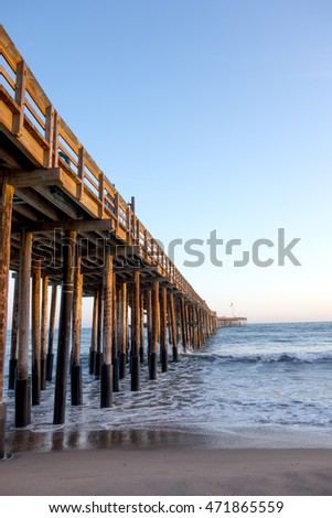 Old historic wooden pier in city of San Buena Ventura, Southern California