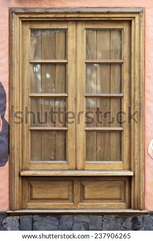 Old historic wooden window in Puerto de la Cruz, Tenerife, Canary Islands, Spain.