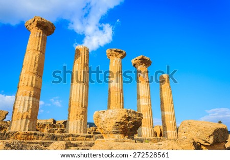 Old historical Greek temple at valley of temples, Sicily. - stock photo