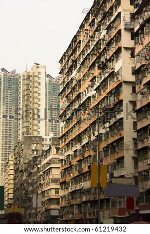 old home building in hong kong with color toned - stock photo