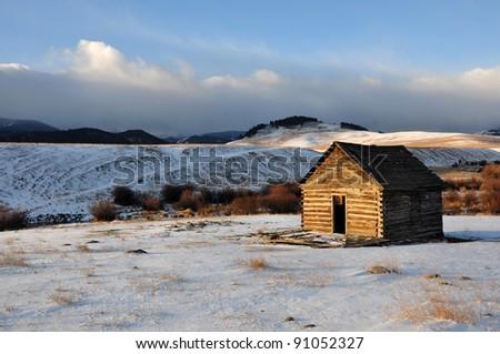 Old Homestead, Montana - stock photo