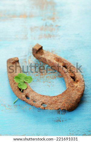 Old horse shoe,with clover leaf, on wooden background - stock photo
