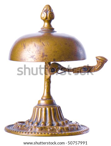 Old hotel bell on a white background - stock photo
