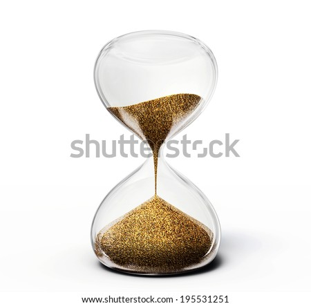 old hourglass isolated on a  white  background - stock photo
