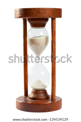 Old hourglass, sand timer from old tuimes to measure time, isolated on white with clipping path uncluded