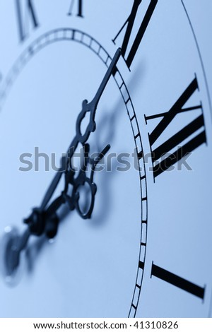 Old hours blue tone.Old hours with figured arrows - stock photo