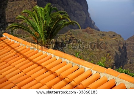 old house and roof with tile - stock photo
