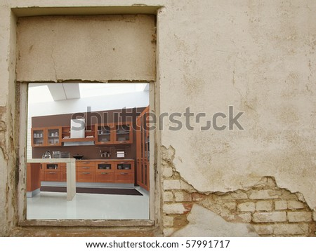 Old House and the new interior - stock photo