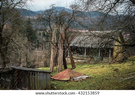 old house and yard in Carpathian mountains, Ukraine - stock photo