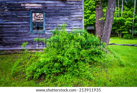 Old house at  Millbrook Village, at Delaware Water Gap National Recreational Area, New Jersey. - stock photo
