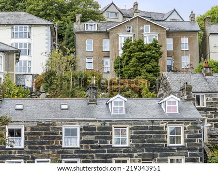 old house built from slate in the welsh town of porthmadog gwynedd north wales - stock photo